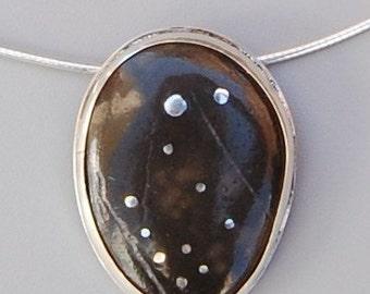 Polaris, Mediterranean Beach Pebble, Streling Silver and Fine Silver Necklace, OOAK