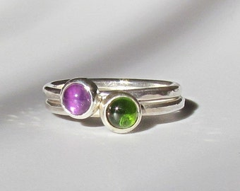Stacking Rings, Set of 3 Sterling Silver Rings with 2 Gems of Your Choice