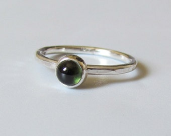 Pine Green Tourmaline in Sterling Silver Solitaire or Stacking Ring. Stackable Ring Customize your Ring, size 4 9, 10, size 11