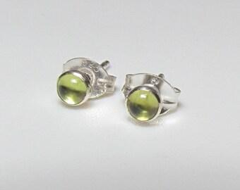 Tiny Peridot In Sterling Silver Post Earrings , 3mm Genuine Gemstone Studs