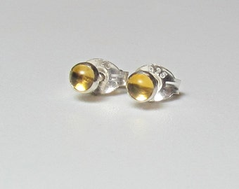 Drops Of Sunshine, Tiny Citrine In Sterling Silver Post Earrings , 3mm Genuine Gemstone Studs