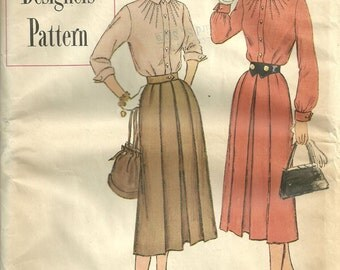 Vintage 50s Sewing Pattern / Simplicity Designers 8298 / Dress Size 12
