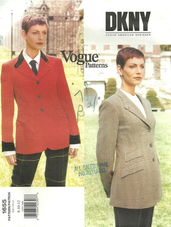 1990s DKNY riding jacket pattern - Vogue 1655