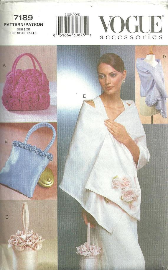 Vogue 7189 / Evening Accessories Sewing Pattern / Purse Handbag Bag Shawl Wrap / Roses Fabric Flowers