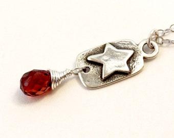 Garnet Dangle Star Charm Necklace on Fine Silver Chain   Delicate Simple