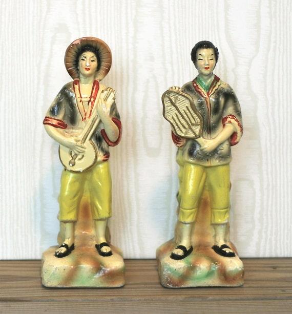 Vintage Asian Chalkware Figurines Musicians