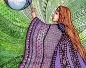 Reaching For The Unknown, an Open Edition ACEO Authorized Art Print zentangle inspired illustration by Karen Anne Brady