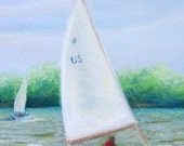 Original Sail Boat Pastel Painting 8 x 10