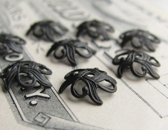 Art Nouveau Lily 9mm antiqued bead cap, black brass patina (8 beadcaps)  delicate, dark aged patina, lead nickel free