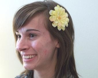 Soft Yellow Blossom - alligator clip hair flower