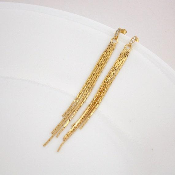 Tassle Earrings Gold Earrings Long Chain Post Stud Earrings
