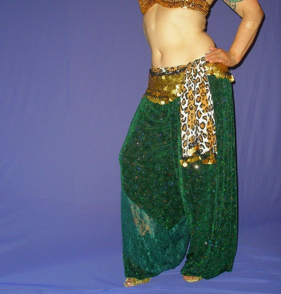 """Belly Dance Costume, Harem Pants, Green Glitter Slinky with Lace, """"Emerald Star"""""""