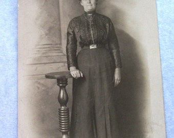 Vintage Ephermera Photograph, Woman in Black Mourning Clothing, Sepia Tone Photograph, Post Card, VisionsOfOlde