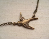 lone sparrow necklace, swallow bird charm necklace, woodland animal pendant, antique brass, cute jewelry gift