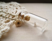 bottled luck necklace, paper origami crane charm, dangle, glass bottle pendant, antique brass, ivory flower, cute graduation gift idea