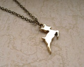 snape's patronus. necklace. (harry potter jewelry. antique brass charm pendant. dainty small animal)