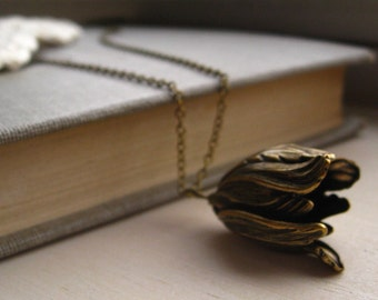 antique tulip necklace, flower charm necklace, dangle necklace, romantic garden pendant, antique brass, cute jewelry gift