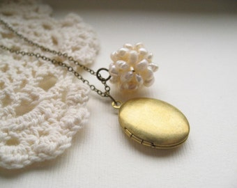 neptune's daughter necklace, oval locket charm necklace, dangle pearl necklace, keepsake, raw and antique brass, cute jewelry gift idea