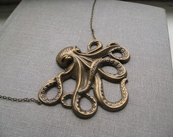 jules verne necklace, large ocean octopus charm necklace, whimsical animal pendant, antique brass, cute jewelry gift