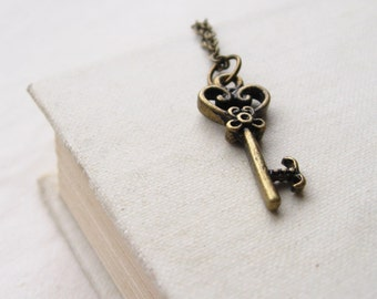 alice's key v.II  necklace, tiny victorian key charm necklace, old fashioned whimsical pendant, antique brass, cute jewelry gift