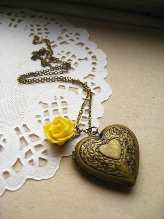 My Secret Garden Necklace Large Heart Locket Charm Necklace