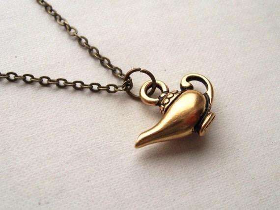 aladdin's lamp necklace, arabian nights charm necklace, dangle necklace, mythology pendant, antique brass, cute jewelry gift