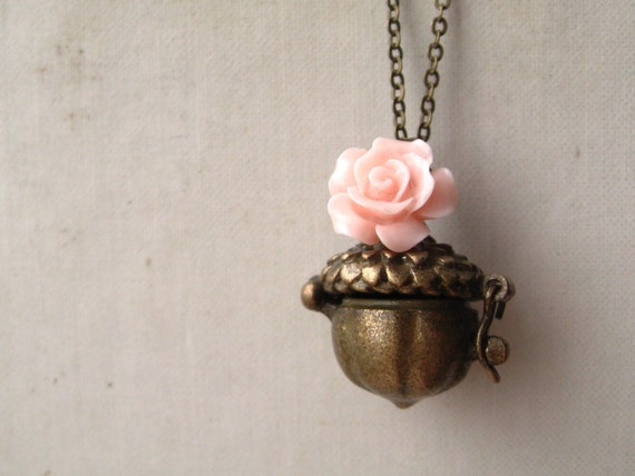 thumbelina necklace, acorn locket charm necklace, pink rose dangle, whimsical forest animal pendant, antique brass, cute jewelry gift
