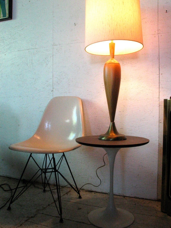 WEEKEND SALE Tall Sculptural Danish Modern Lamp Teak and Brass Table Danish Lamp   attrib to Laurel Danish Modern Teak Lamp