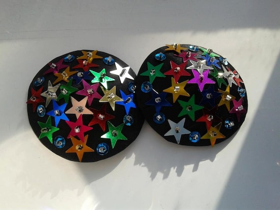 SALE Black Burlesque Pasties with Multi Color Sequin Stars