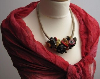 Natural Amber Coral Linen Necklace, Raw Stone Necklace, Red Yellow Earthy Colors, Bib Statement Necklace