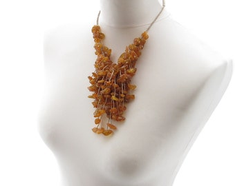 Honey Amber Necklace Bib Linen Orange Yellow Raw Gemstone Jewelry Natural Baltic Bee Warm Summer Fashion