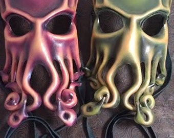 MADE to ORDER - Leather Cthulhu Full mask by Parkers and Quinn.Wearible Art, Display, Labyrinth Mardi Gras day of the dead,fetish LARP