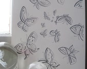 Flutterby Buterflies Hand Drawn Illustration in Pencil .. 12 x 9 (30.5x22.5cm)