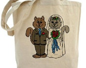 Bride and Groom - Wedding Tote - Cotton Canvas Tote Bag - Gift Bag