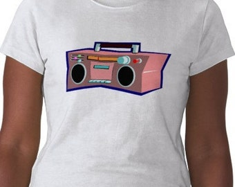 Boombox T-Shirt - Graphic Tee - Womens Short Sleeve Cotton Tee