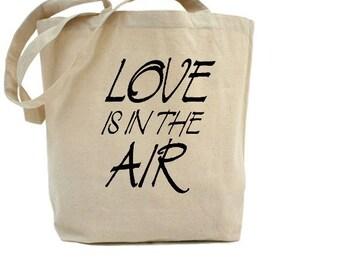 Love Tote Bag - Cotton Canvas Tote Bag - Valentines Day