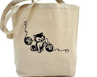 CAT Bag - Cotton Canvas Tote Bag - Knitting Bag - CRAFT Bag