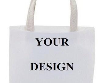 Custom Gift Bag - Cotton Canvas Tote Bag - Mini Tote Bag - Favor Bags - Set of 4