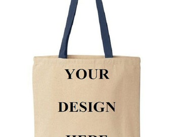 Custom Totes - Gift Bags - Promotional Totes - Wedding Favors - Colored Handles - Navy
