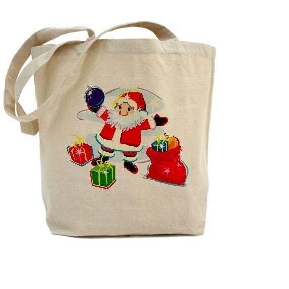Santa claus christmas cotton canvas tote bag gift bags