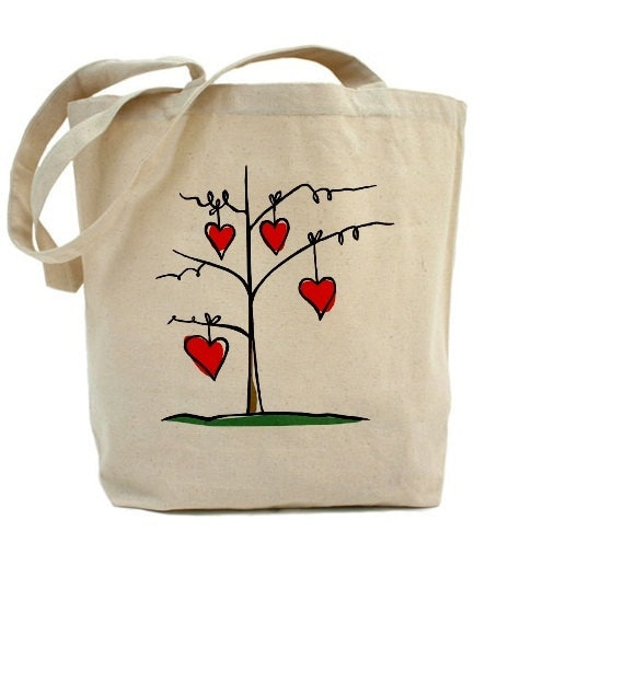 Canvas Tote Bag - Seeds of Love - Red Hearts