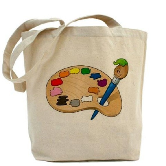 Paint palette cotton canvas tote bag kids craft bag for Arts and crafts tote bags