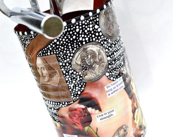 "Upcycled Shakespeare Art - Hand-Painted Decoupage Decor Repurposed Recycled Original Shakespearean Eco Art Canister - ""Shakespeare's Muse"""