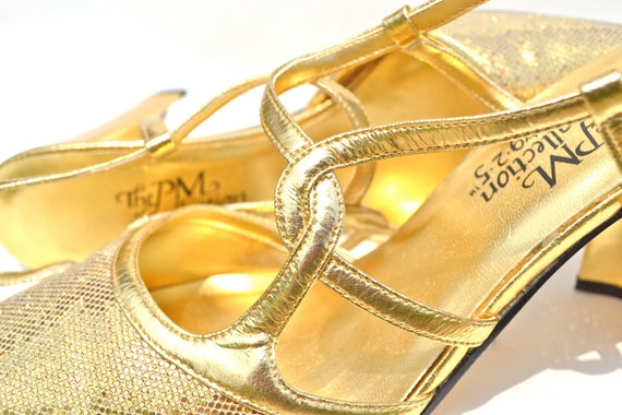 Retro Gold High Heels - Dazzling PM Collection Prom Pumps - Vintage Metallic Glitter Glamour Strappy Mary Jane Style Stiletto Shoes