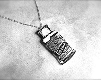 bayer heroin bottle necklace with silver plated chain
