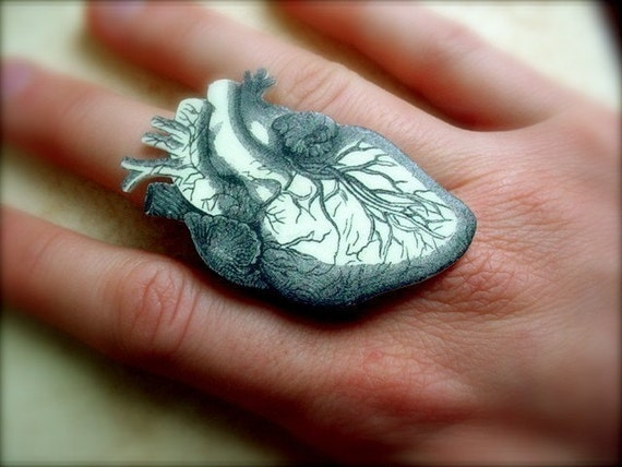 anatomical human heart large cocktail ring black and white realistic