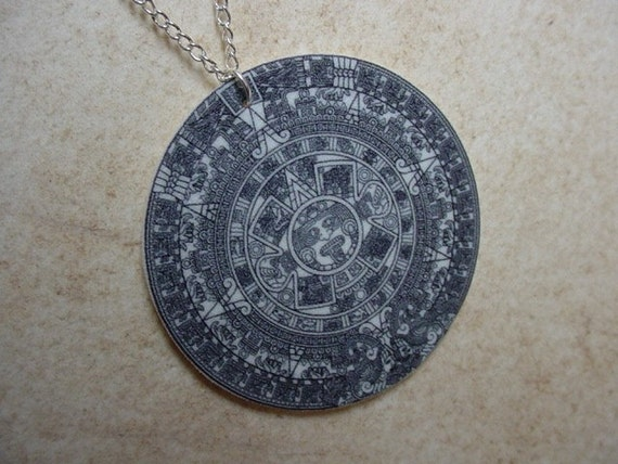 black and white mayan calendar necklace
