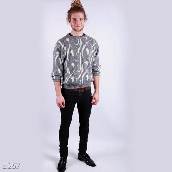 Mens Sweater . Vintage 80s Gray Retro Jumper Brush Strokes Pullover Artist Urban Casual Boyfriend Gift Hipster Style . Medium