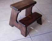 Wood Step Stool - Dark Walnut Stained Classic - Tip-resistant Step Stools by Laffy Daffy on Etsy