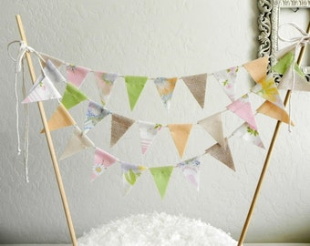 Peach Apple Green and Burlap Muslin  Fabric Bunting Cake Topper Decoration / Vintage Rustic Wedding